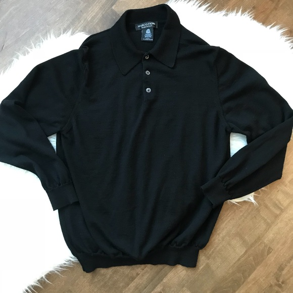 Marco Fiori Other - Marco Fiori black wool polo style long sweater